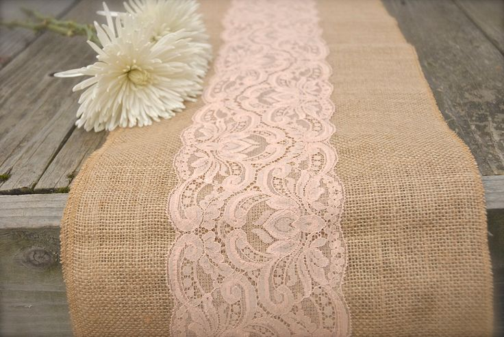 Burlap Runner With Rose Gold Spray Painted Lace Attached