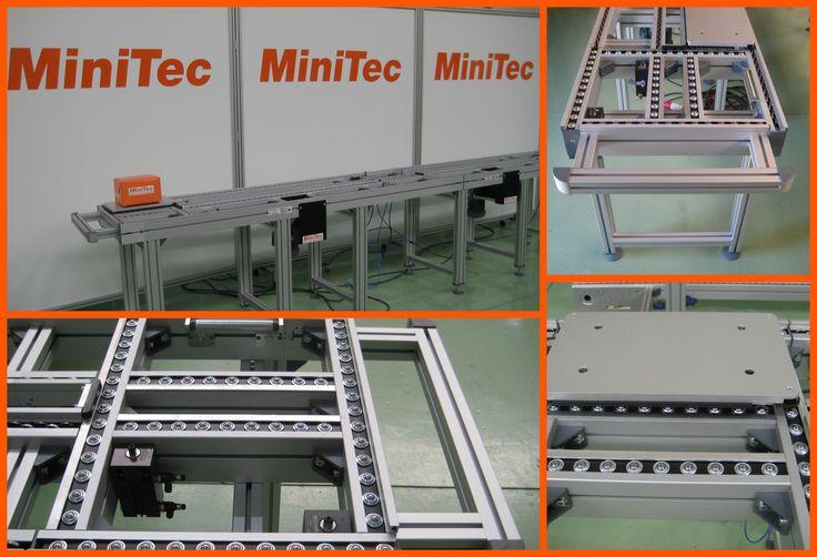 Transportador de cadena rodillos de acumulación realizado con perfiles y accesorios MiniTec.http://bit.ly/2qlVykZ