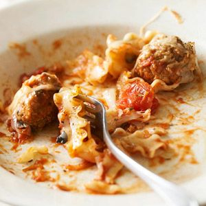 Meatballs and Mafalda. Canned tomatoes, red wine, onion soup mix, and spices create a scrumptious (and fuss-free) sauce for this easy (frozen meatballs included) pasta bake.