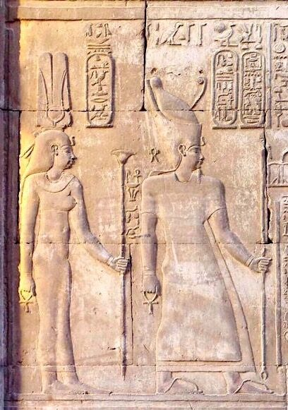Ptolemy VI Philometor with Cleopatra I Behind Facing Haroesis, Horus and Sobek. Kom Ombo Temple Egypt