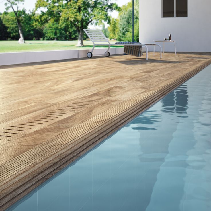 Wood effect porcelain tiles can be used in wet areas such for Swimming pool ceramic tile