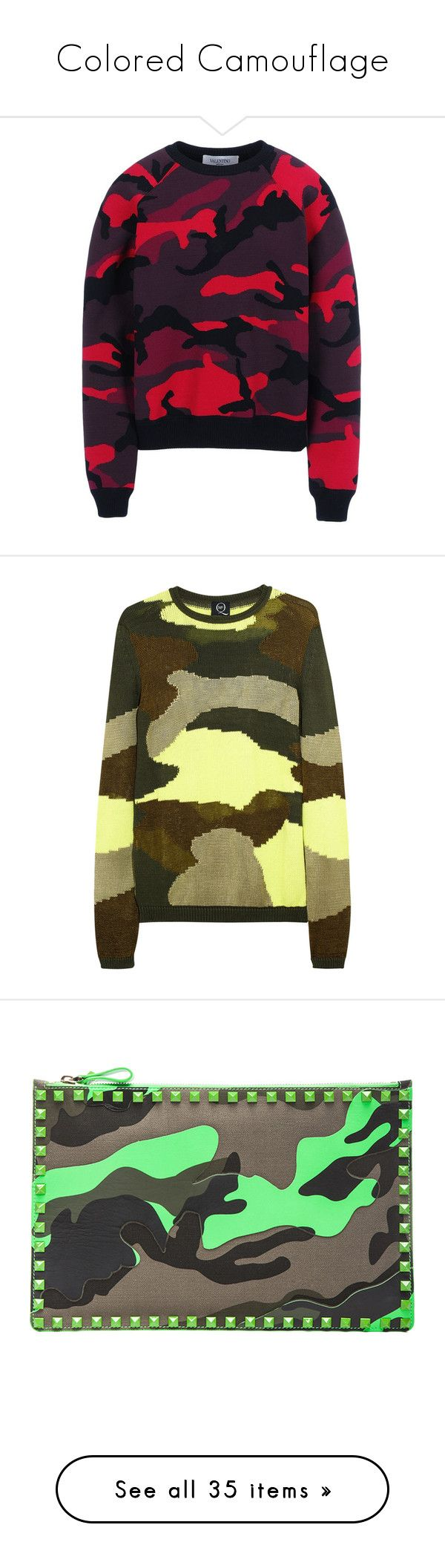 """""""Colored Camouflage"""" by nataliemcmahan ❤ liked on Polyvore featuring tops, hoodies, sweatshirts, sweaters, shirts, valentino, long sleeve knit shirt, ribbed long sleeve shirt, long-sleeve shirt and purple camo shirt"""