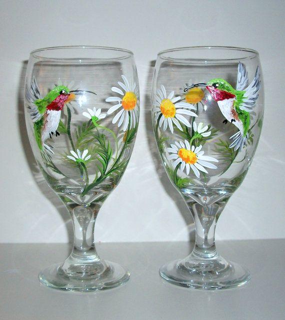 Hand Painted Tea Glasses Or Wine Glasses Hummingbird