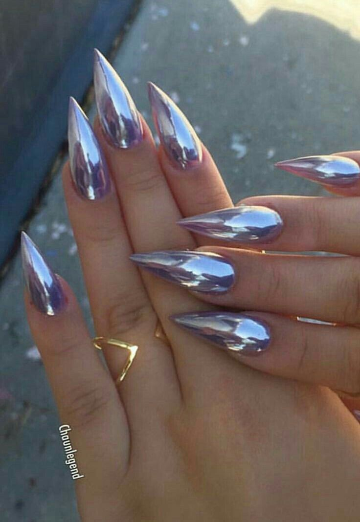 Coffin Acrylic Clear Nails Chrome