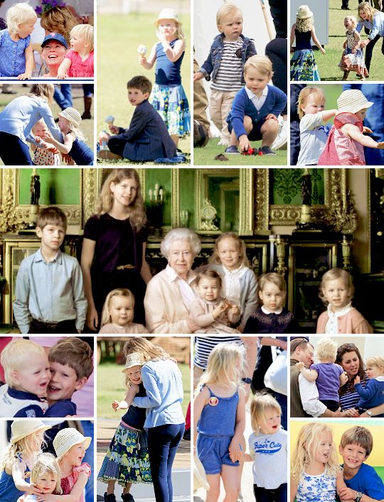 """The """"royal youngsters"""" of the British Royal Family - Lady Louise Windsor, James the Viscount Severn, Savannah Phillips, Isla Phillips, Prince George of Cambridge, Mia Tindall, and Princess Charlotte of Cambridge."""