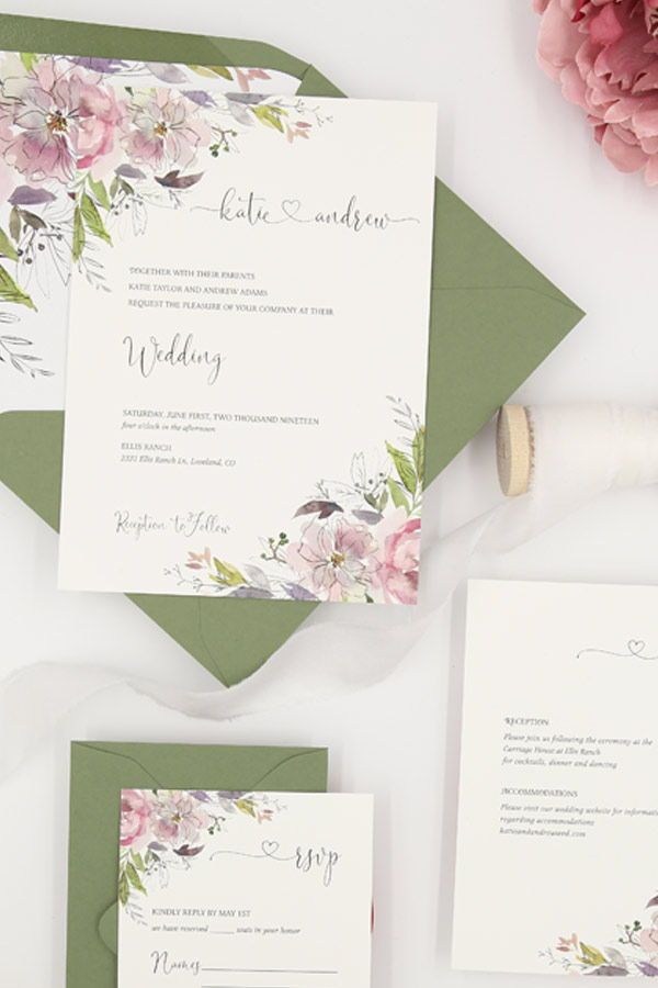 0e4707431fcd88 Sage green and mauve wedding invitations. The Katie suite features romantic  watercolor florals in shades of mauve paired with sage envelopes.