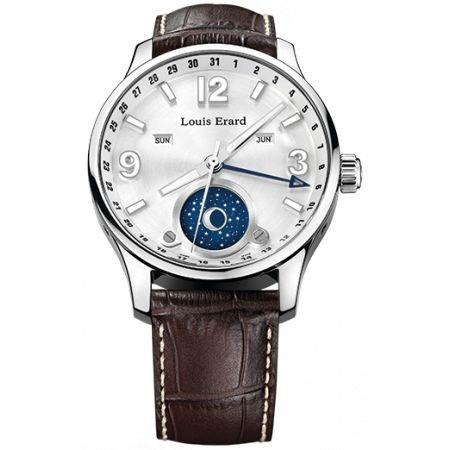 """http://www.horloger-paris.com/fr/2843-louis-erard-1931  Louis Erard 1931 Date/Jour/Mois/Phase de Lune 44"""" Argent ...  2390 44"""