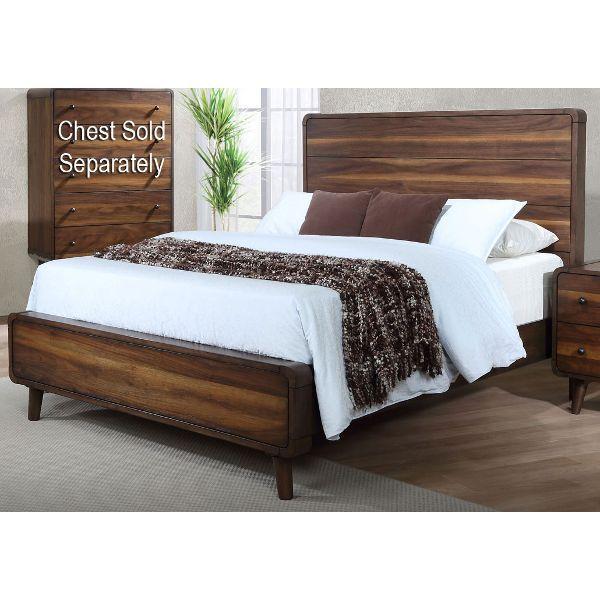 Walnut Brown Mid-Century Modern Queen Bed - Yasmin