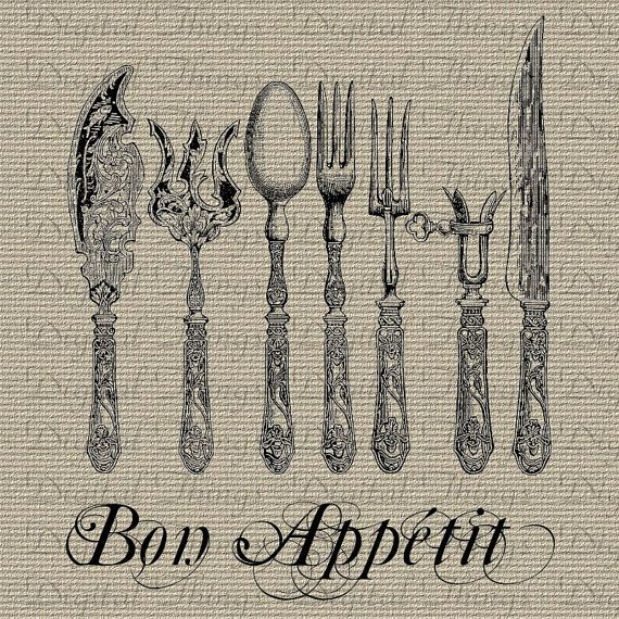 Bon Appetit French Words Typography Digital by DigitalThings, $1.00
