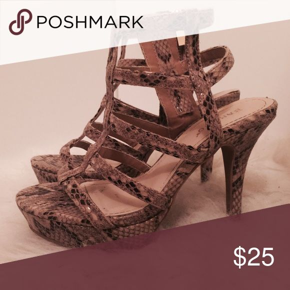 """""""Rachel"""" Snakeskin Strappy Heels✨ Believe it or not, these shoes are very comfortable! You can definitely wear these for hours at a time, walk and not die and most importantly strut your stuff! These versatile heels can be worn with any denim bottoms and a cute white or black top. Want to spice up your fit, add a clutch that's a POP color (Fuchsia, Royal Blue, you catch my drift?) to spruce up your outfit! 😍 Shoes Heels"""