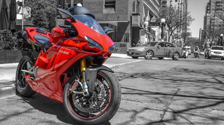 Download Wallpaper red, Ducati, Ducati, street, red, helmet, motorcycle, machine, cars, pearls, 1098S, superbike, section мотоциклы Resolution 1366x768