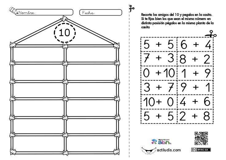 """Con la ficha de """"Los amigos del diez en su casita"""" repasamos los complementarios del diez, trabajamos la propiedad conmutativa Y la psicomotricidad mediante el recorte. Para ello hemos creado una """"casita del 10"""" en la que el alumnado debe recortar las distintas piezas y emparejar los sumandos según la …"""