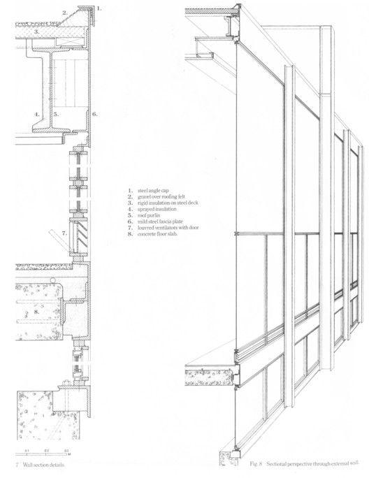 Arquivo: Cortes Perspectivados,Detalle y Corte fugado Crown Hall del Instituto (1956)