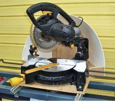 Miter Saw Dust Hood - Miter Saw Tips, Jigs and Fixtures http://woodarchivist.com/miter-saw-dust-hood/ #DustCollection, #MiterSaw, #MiterSawDustCollection #Woodwork #Woodworking #WoodworkingPlans #WoodworkingProjects