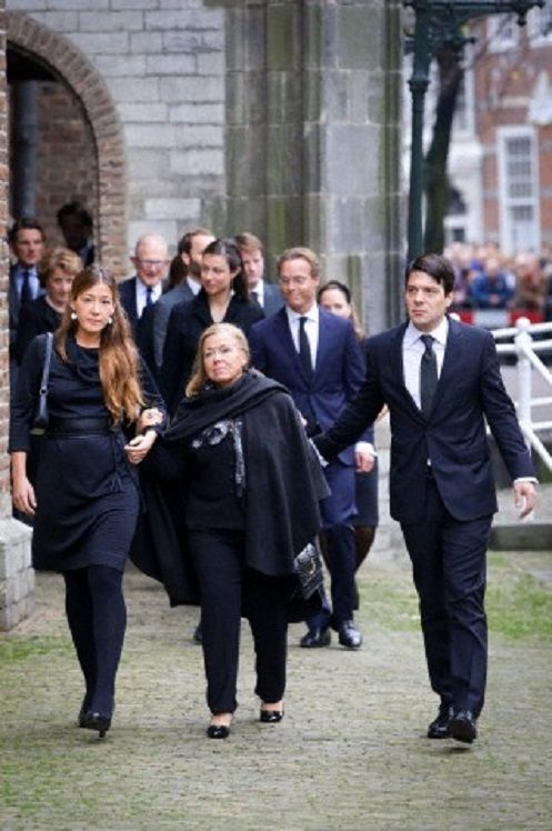 Princess Christina (C) of The Netherlands and her children Juliana and Bernardo arrive at the Old Church in Delft, The Netherlands, for the memorial of Prince Friso, 02.11.13.