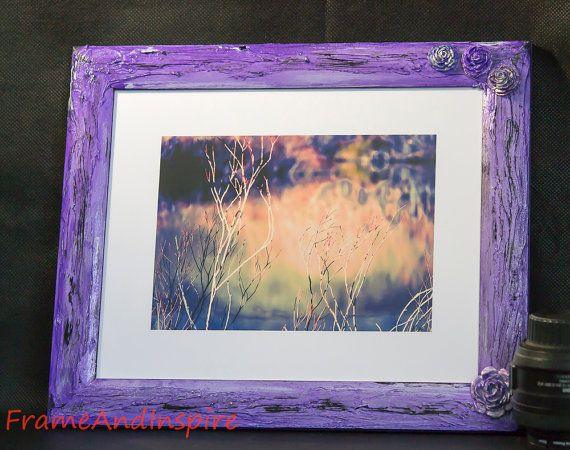 Upcycled Photo Frame. Textured. Painted Purple and Blue.  32cm x 27cm frame. Fit 8 x 10 photo. Flowers. Roses. Picture frame. Wall hanging.