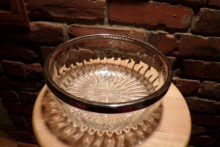 Leonard Silver Rim Crystal Bowl, Silver rimmed bowl, crystal bowl, serving bowl, glass serving bowl, wedding serving bowl, 1960's prop by Morethebuckles on Etsy