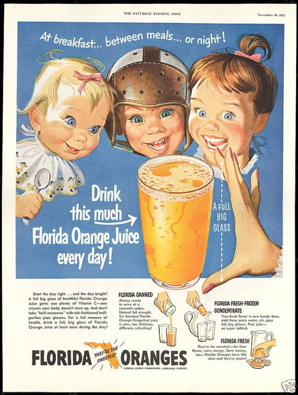 weirdvintage:  Florida Orange Juice ad, 1951 (via Vintage Ads LJ)