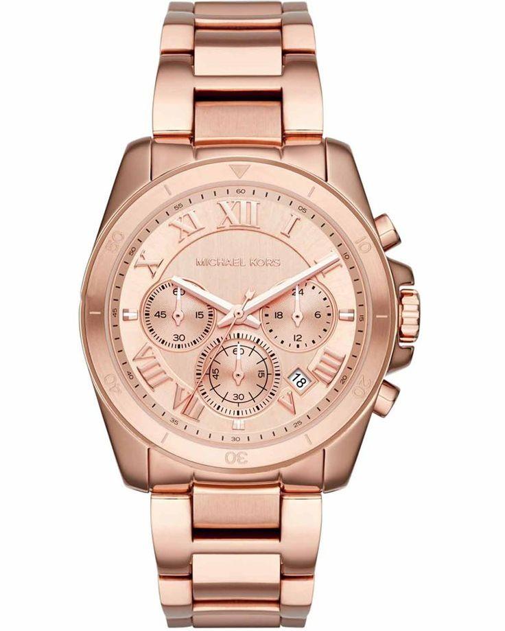 Μοντέρνο γυναικείο ρολόι από ροζ χρυσό ανοξείδωτο ατσάλι και ροζ χρυσό καντράν του οίκου MICHAEL KORS