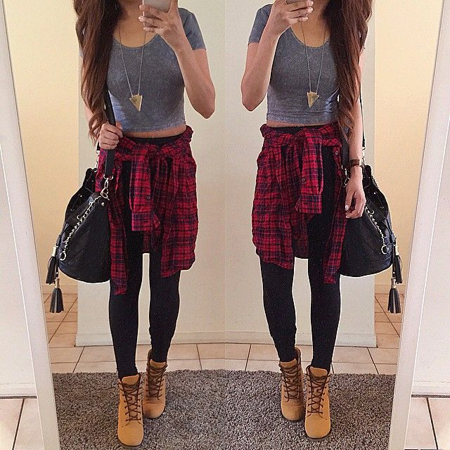 Boots from @lolashoetique  Crop top: @shopgracieusa | Flannel: @forever21