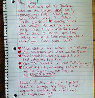 One jilted girlfriend's breakup letter that sent her cheating lover on a scavenger hunt for his belongings has gone viral, spurring men everywhere to think twice before running around on their women.