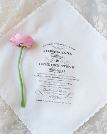 Make your wedding invitation extra sweet by printing it onto the back of a handkerchief