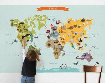 World Map Peel and Stick Poster Sticker by SimpleShapes on Etsy
