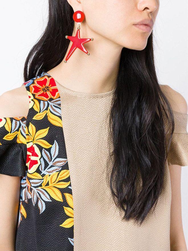 Orecchini grandi a forma di stella #Marni #earrings #starfish #red