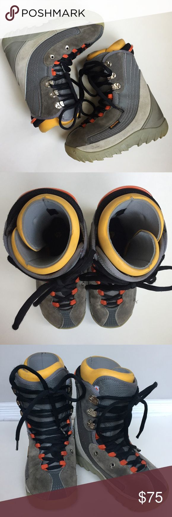 Burton moto snowboarding boots men's sz 7. EUC! Burton moto snowboarding boots. men's size: 7. Excellent preowned condition. Tan/gray suede with yellow and orange accents. Very minimal wear. Men's size but can be worn by a women or girl because they are a neutral style. Burton Shoes Boots