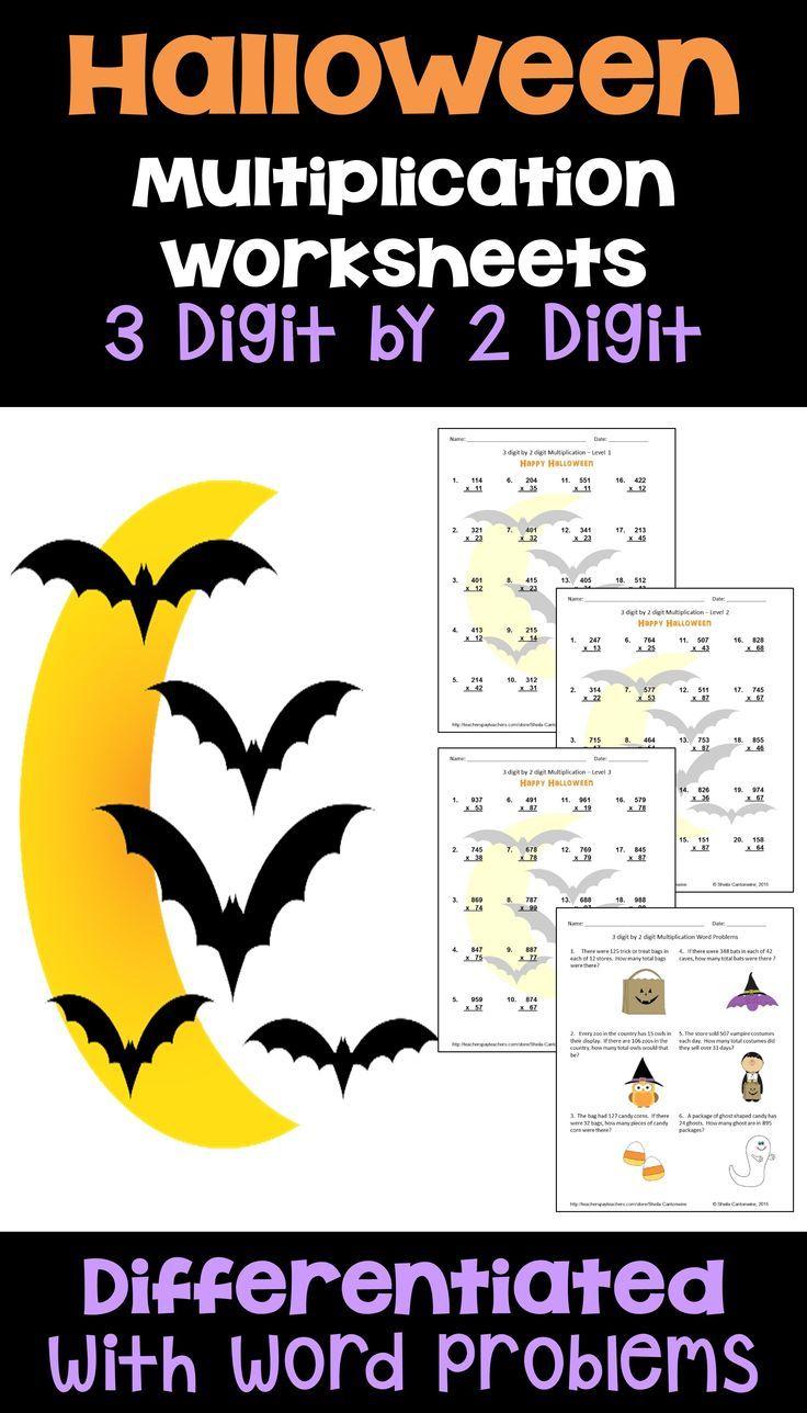 Halloween Math 3 digit by 2 digit Multiplication   Digital and Printable    Halloween multiplication worksheets [ 1288 x 736 Pixel ]