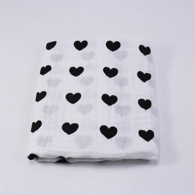 Oganic cotton Muslin Baby Blanket Swaddle wrap Spring Newborn Swaddleme blanket For Babies Black White Bath Towel