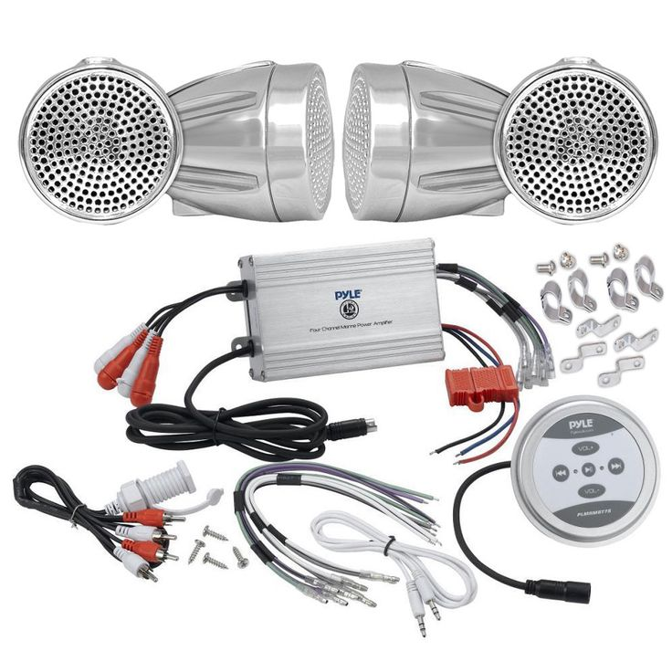 Pyle KTHSP430 1200w Motorcycle/ ATV/ Snowmobile Sound System with Bluetooth Amp/ Weatherproof 2.25-inch Speakers/ Cables