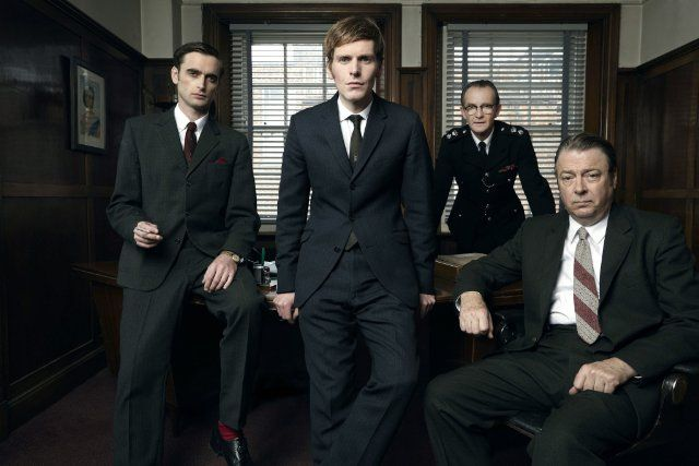 Still of Roger Allam, Anton Lesser, Shaun Evans and Jack Laskey in Endeavour (2012)