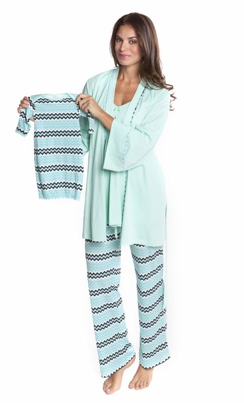 Olian Maternity Mint Zigzag MAtching Nursing Pajama Set - BellaBluMaternity.com