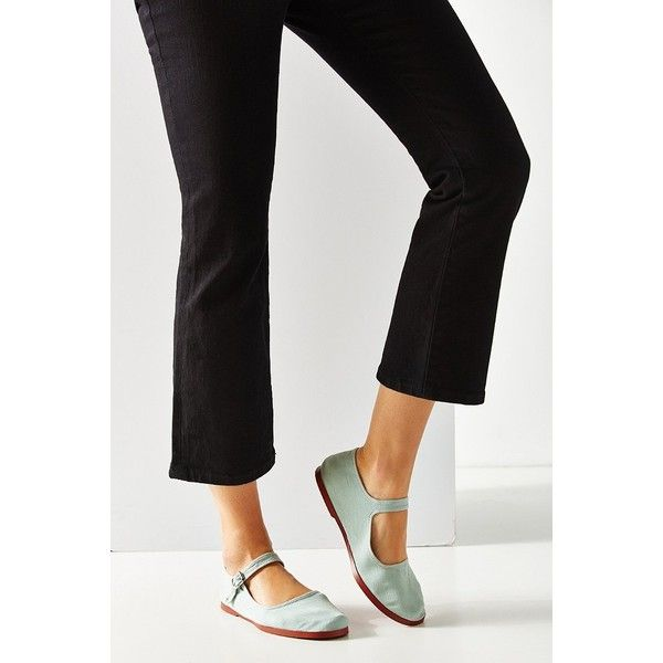 Cotton Mary Jane Flat ($14) ❤ liked on Polyvore featuring shoes, flats, teal, flat heel shoes, urban outfitters flats, mary-jane shoes, urban outfitters shoes and cotton mary jane flats