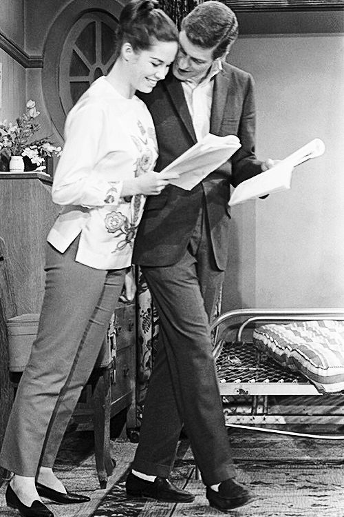 """Mary Tyler Moore and Dick Van Dyke during a rehearsal for the episode """"Honeymoons Are For the Lucky"""" [1964]"""