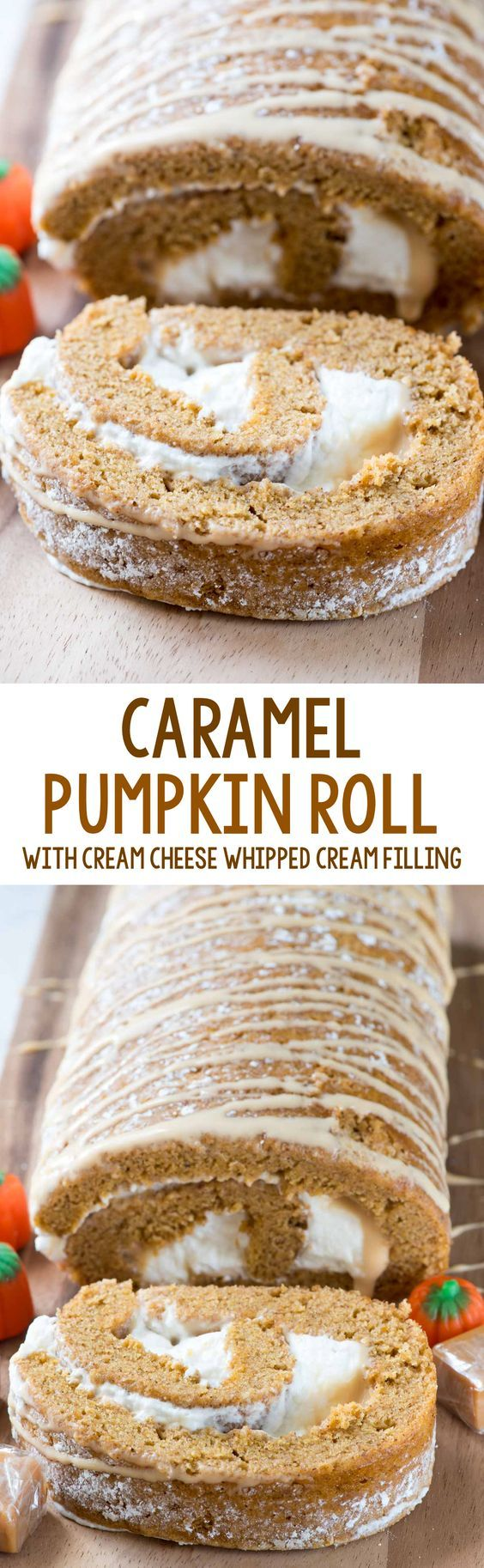 Caramel Pumpkin Roll - this easy pumpkin roll recipe is filled with caramel ganache and cream cheese whipped cream. It's your favorite pumpkin roll recipe with a twist!