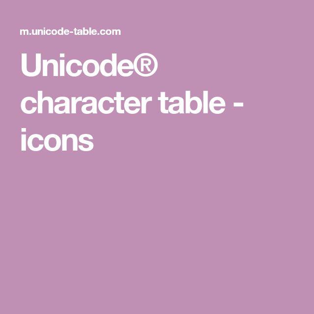 Unicode® character table - icons