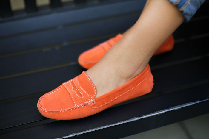 Who's buying these for me?-----Coral suede loafers via Andy Tom
