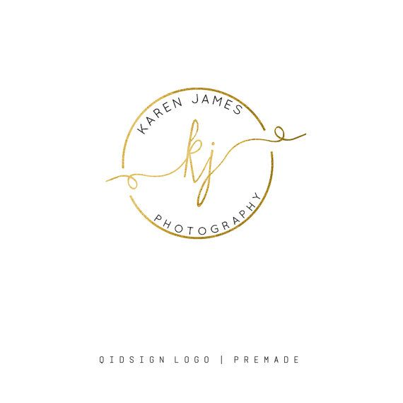 Gold Logo Design- Gold watermark- Photography Logo - Premade Logo - Graphics