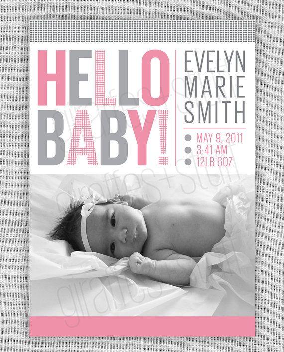 Hello Baby  Baby Birth Announcement DIY by giraffesnstuff on Etsy, $10.00