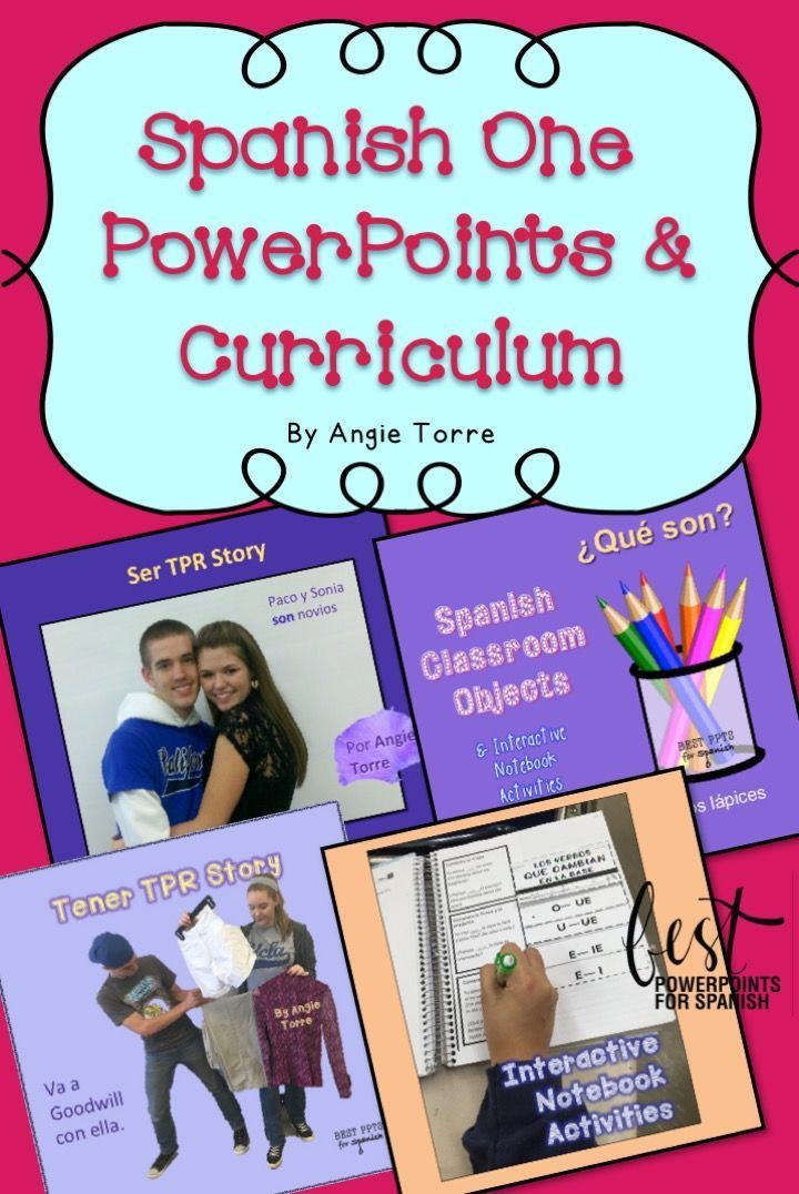#SpanishOnePowerPoints and Curriculum: Everything (almost) you need to teach Spanish One- PowerPoints, illustrated TPR Stories, Activities, Games, #SpanishVideos, #InteractiveNotebookActivities, #GoogleDriveActivities #TPRS