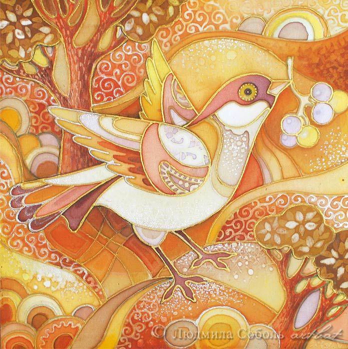 """Батик """"Солнечная птичка"""" автор Людмила Соболь.Панно выполнено на натуральном шелке красками Marabu. batik, artbat, silk, панно, батик, роспись на шелке, птица, птичка"""