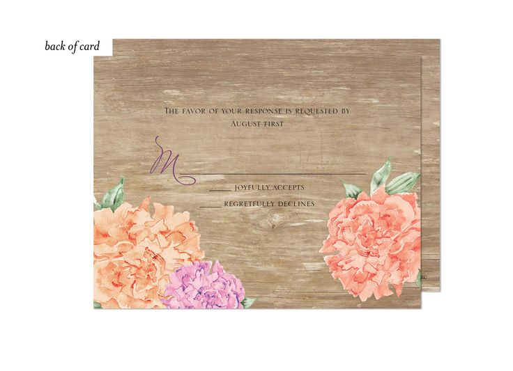 Wood Floral Wedding Suite Response Card from The Bonnie Marcus Collection