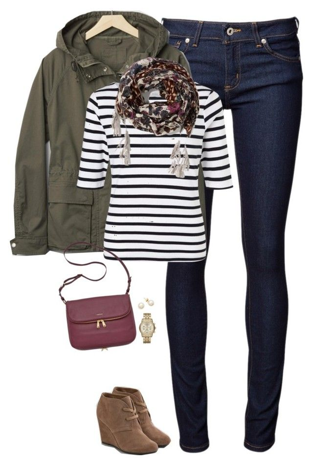 Gap hooded jacket, striped top & tassel scarf by steffiestaffie on Polyvore featuring polyvore, fashion, style, John Lewis, Gap, Naked & Famous, American Eagle Outfitters, FOSSIL, Michael Kors, Abercrombie & Fitch, women's clothing, women's fashion, women, female, woman, misses and juniors