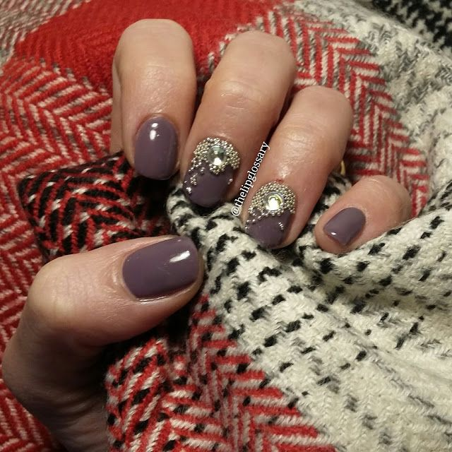 Grey / Purple elengant nail art design with studs and swarovski by @thelipglossary