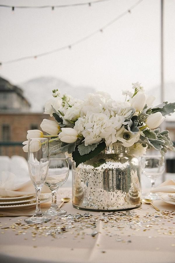 white flowers in silver vase wedding centerpiece - Deer Pearl Flowers