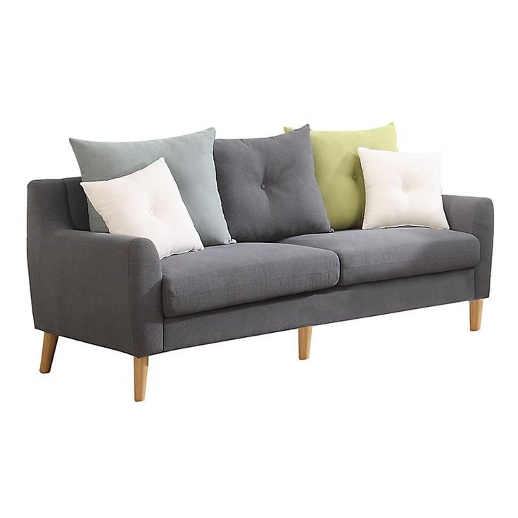 FABRIC 3 SEATER SOFA IN GREY COLOR 195X88X91 - Couches - Daybeds - FURNITURE