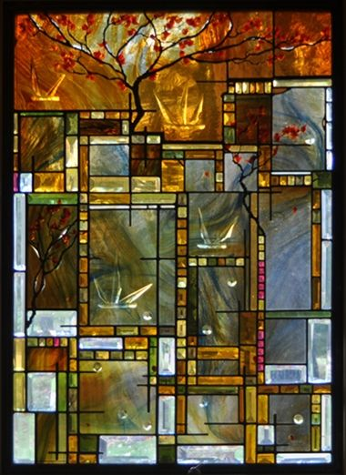 Contemporary Art Glass Window Washington DC by Cain-White Architectural Art Glass