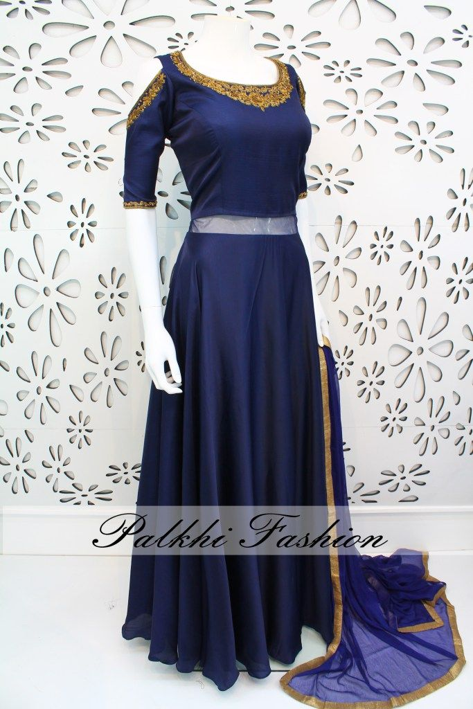 PalkhiFashion Designer Full Flair NavyBlue Satin Silk Outfit With Elegant Work and Cold Shoulder Look.